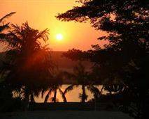 An African sunset viewed from the dining deck at Lidiko Lodge.