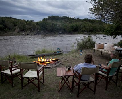 Campfire overlooking the river