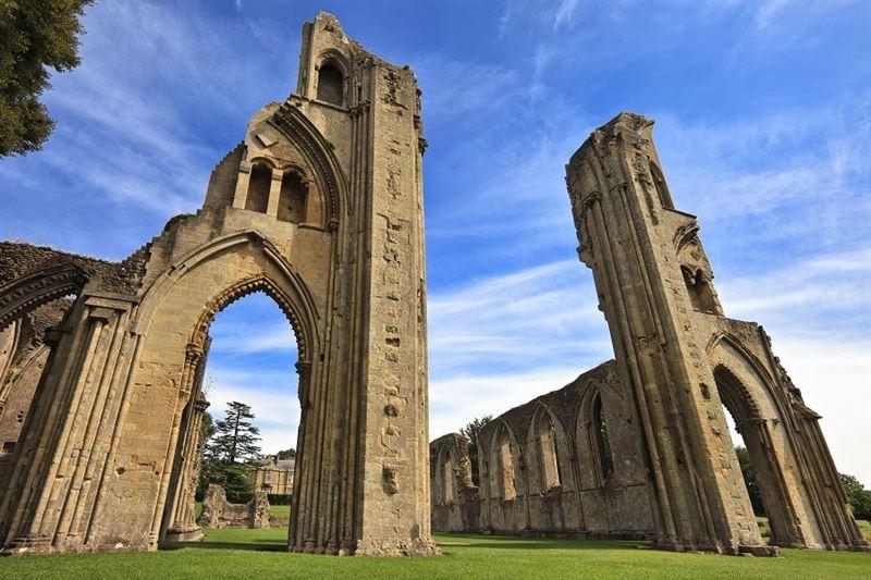 Historic Ruins of Glastonbury Abbey, Somerset