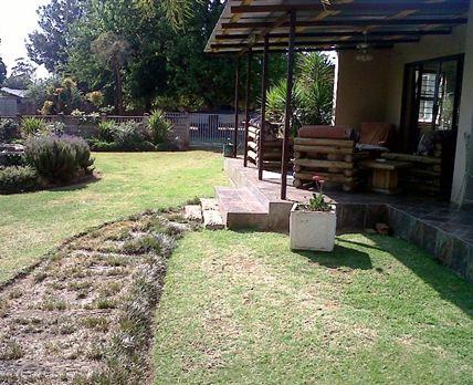 Patio and garden.