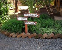 Pathways to the rooms and restaurant