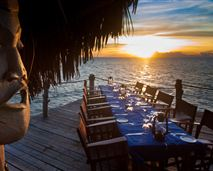 Tables are set up along the jetty for a traditional Swahili barbecue © Peter Bennett