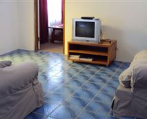 tv with openview decoder and two couches