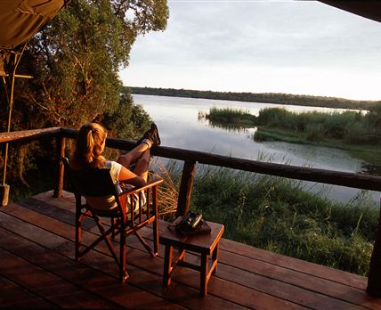 View of the Zambezi River from the decks of our tents © Gavin Johnson