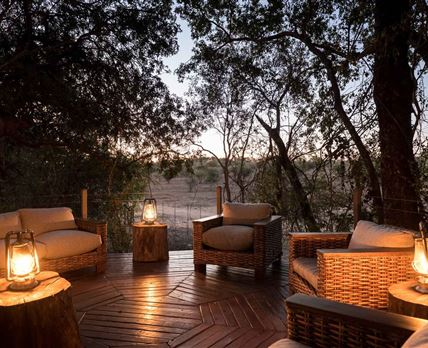 The deck at Bundox overlooks the surrounding bushveld.