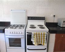 Well equipped kitchen with electric and gas stove