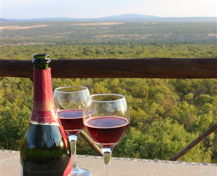 Champagne at the viewpoint.