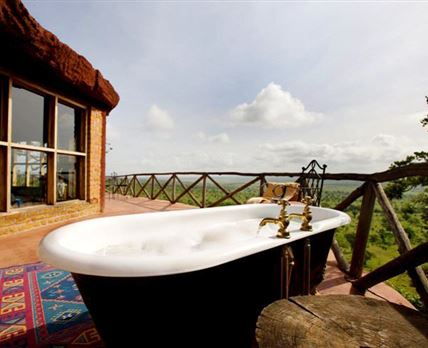 Outside bathtub and view