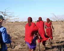 Walk with Maasai warriors and see wildlife on foot © Maasai Simba Camp
