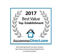 Self-Catering Keravic has been named a Best Value Somerset West Establishment on AccommoDirect