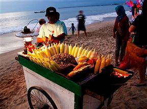 Grilled Corn Seller at Jimbaran Beach