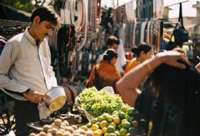 Fruit seller at Kinari Bazaar