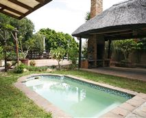 Garden plunge pool with thatched entertainment area and barbeque facilities