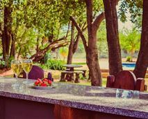 Outdoor bar overlooking the private swimming pool © ©Mgankla Lodge 2018     All Rights Reserved