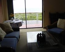 View from the lounge over the deck of the fynbos reserve and the sea.