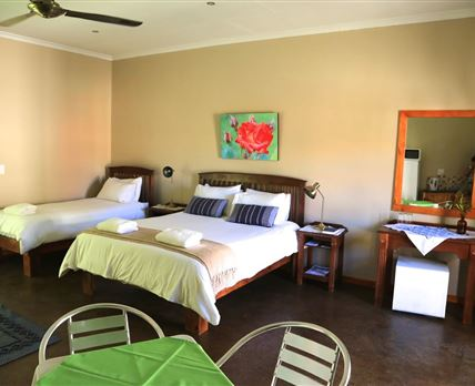 A spacious room with a kitchenette, with a fridge and a microwave oven, air conditioner, en suite bathroom and big flat screen TV with DSTV