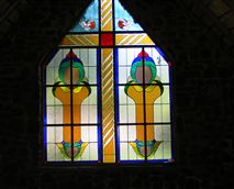 Stained glass window chapel available for small weddings.  All catering can be done in our restaurant.