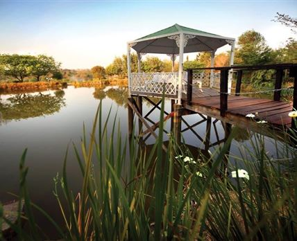 Gazebo and pond