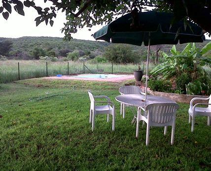 The simming pool and braai area