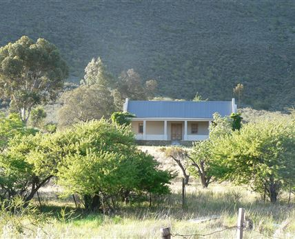 Head on view of the front of the cottage from the Route 62 main road through Barrydale