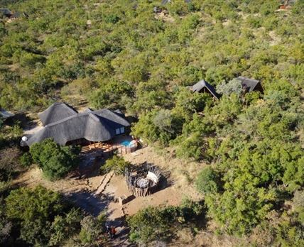 aerial view of main lodge and 2 chalets