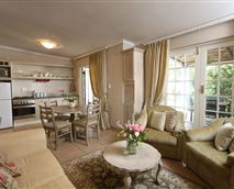Living Room and kitchen area of the Rose self-catering Cottage