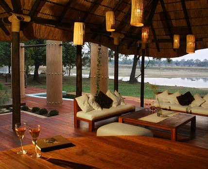 View from Luangwa River Camp lounge to the Luangwa River.