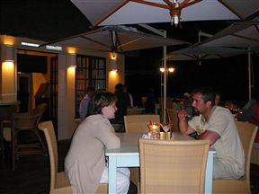 Friends and guests enjoy dining in one of three areas, Main Dining Room, Patio or Viewing Deck overlooking the sea