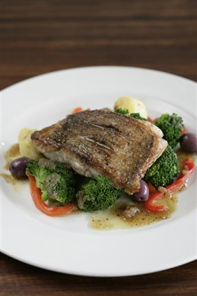 Bream, broccoli & anchovy dressing