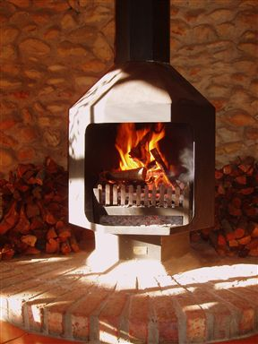 Hardworking fireplace.
