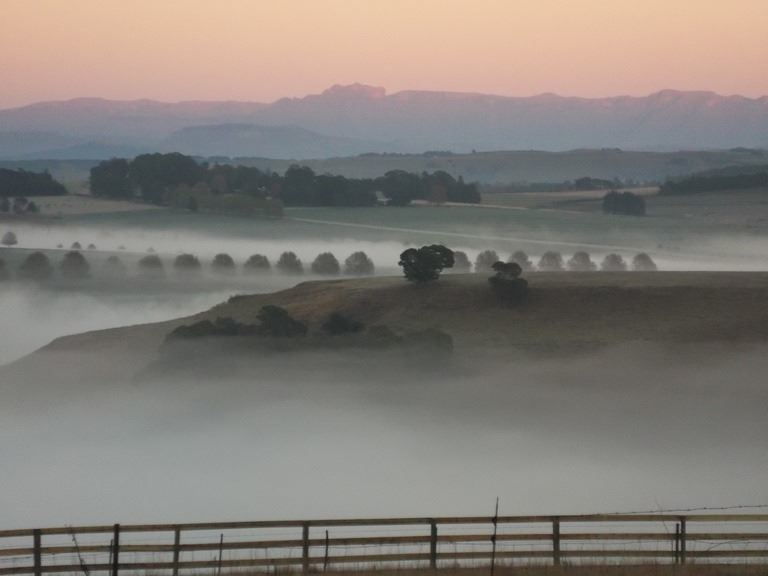 Mooi River farmlands in mist