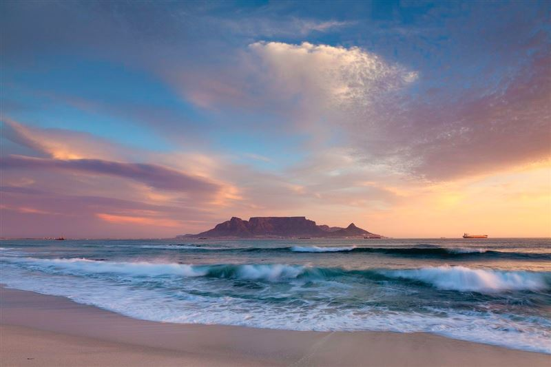 View of Table Mountain from Bloubergstrand beach