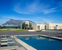 The Lagoon Beach Topdeck swimming pool, which is adjacent to the Camelot Spa. The pool offers magnificent views of Table Mountain.