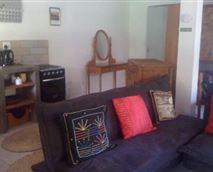 Garden flat lounge area