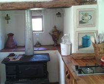 Kitchen and wood burning stove
