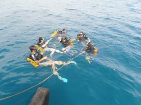Scuba divers prepare to descend