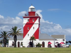 The Green Point Lighthouse, in Beach Road, Mouille Point, Cape Town was the first solid lighthouse structure on the South African coast, first lit on 12 April 1824.