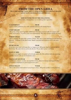 Bull & Bush menu