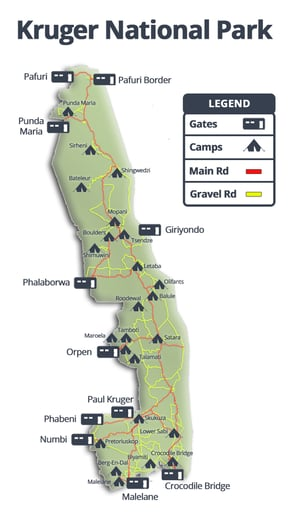 Kruger National Park Gates And Camps Map