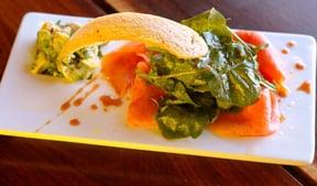 Atlantic smoked salmon with avocado salsa, rocket salad & Rooibos glaze