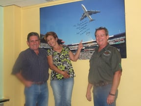 Yes, the Pilot who flew the Jumbo over Ellis Park 1995 world cup, came to Duck 'n Dive to sign this poster, here he is with Joy & Allan