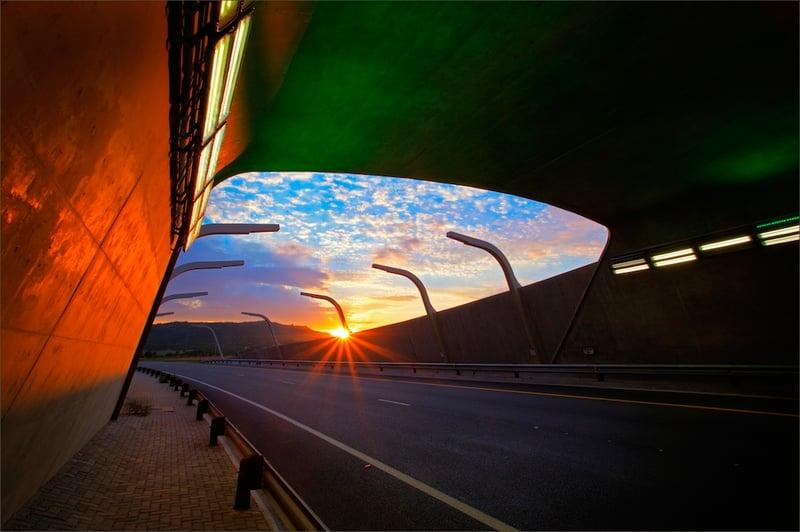 Alberton tunnel at sunset