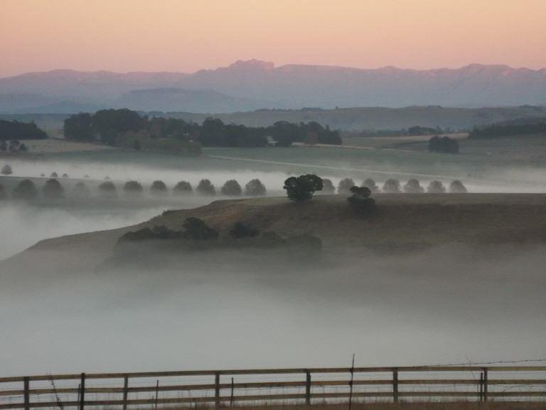Mooi River farmlands in mist