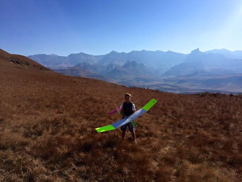 Flying a glider near Underberg, Drakensberg