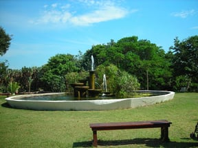 The park at CrocWorld has many wonderful water features and picnic areas